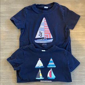 Janie and Jack 2 pack of navy tees. Boats. 2T